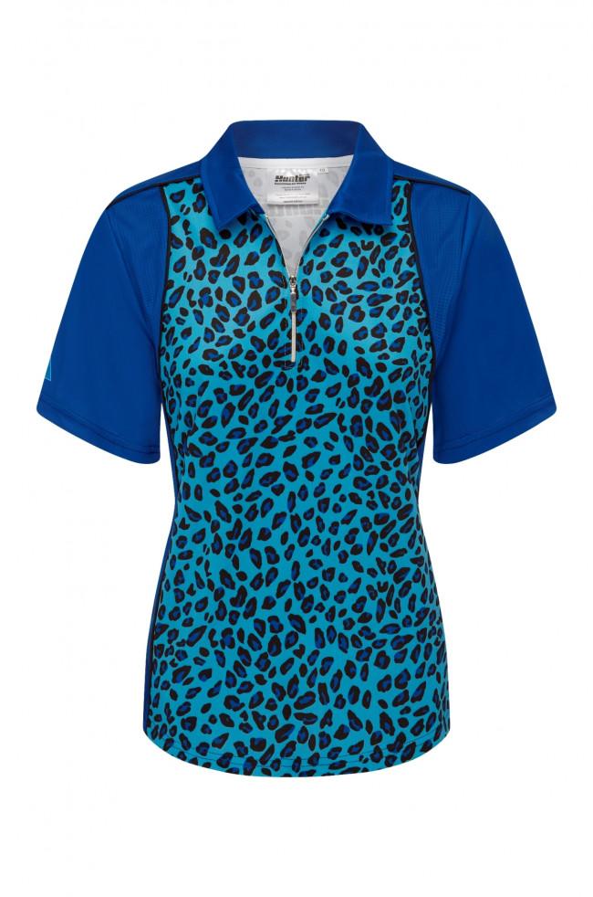Ladies Lawn Bowls Clothing | Buy Ladies Zip Leopard Platinum Polo [HUNTER]